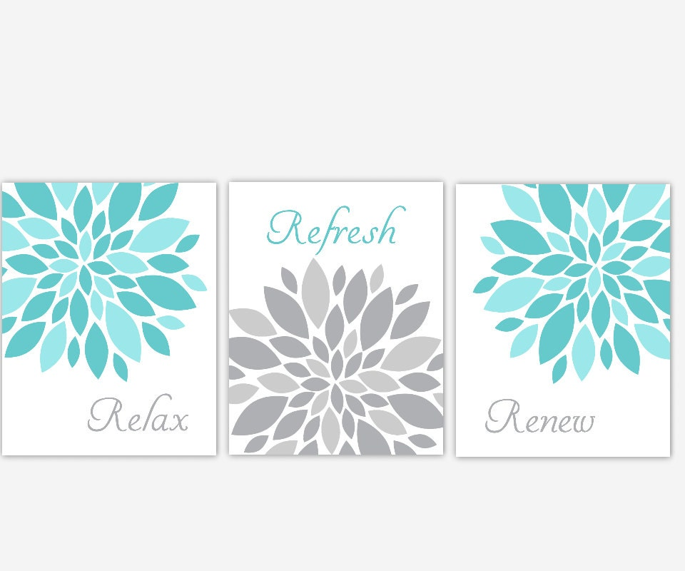 Dahlia Bath Wall Art Floral Bathroom Prints Relax Refresh