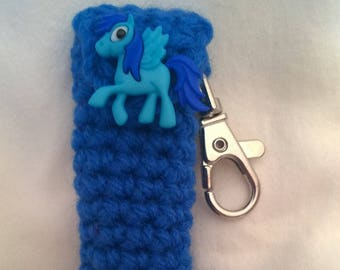 Blue Lip Balm Holder Keyring with Pegasus Button - My Pony Chapstick Case -  Lanyard Lip Balm Cozy - Gifts for Her - Stocking Stuffer