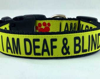 "I AM DEAF & BLIND Dog Collar and Leash Set 1"" wide"
