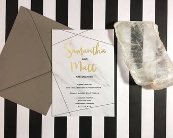 Printable Gold & Marble Geometric Save the Date Invitation