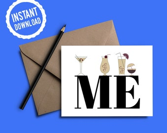 Drinks On Me Card | Celebration Cards | Birthday Cards | Congratulation Cards | Instant Download