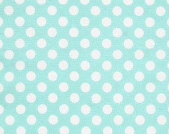 Aqua Dots Fabric by Robert Kaufman, Aqua Polka Dots, Pond from Spot On