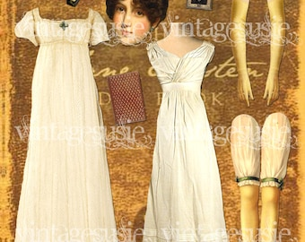 JANE AUSTEN Digital Paper Doll Collage Sheet digital download Famous Authors