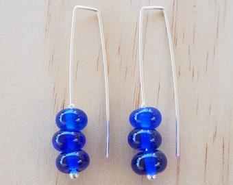 Blue earrings. Modern earrings. Long earrings. Long blue earrings. Simple earrings. Everyday earrings. Upcycled. Recycled glass.Gift for her