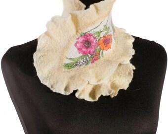 White felted scarf felt scarf Merino wool  winter warm scarf fiber art long wool felt art nuno felt shawl wrap