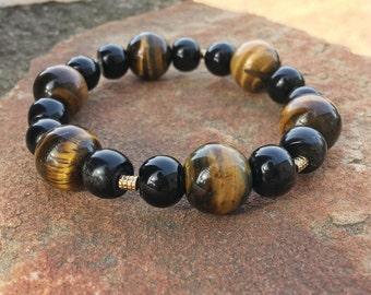 Natural golden sheen obsidian and tiger eye bulky beaded stretch bracelet, beaded bracelet