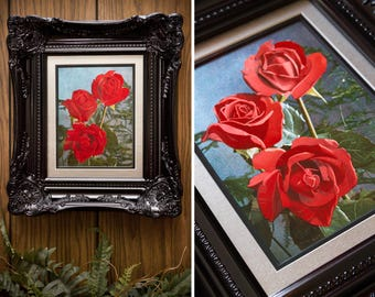 Vintage 80s Collectable Professionally Framed Etched Foil Art Print Black Glossy Ornate Frame Double Mat Metallic Red Rose Roses Silver 6x8