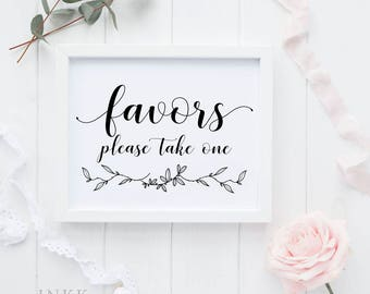 Favors Please Take One Sign, Favors Printable Sign, Wedding Signage, Gift Table Sign, Wedding Printable, DIY, PDF Instant Download #E026