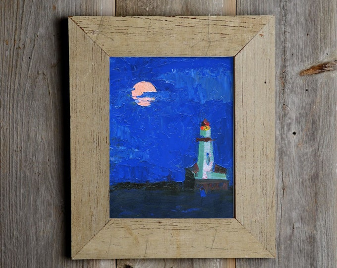 Beach Decor Lighthouse at night Oil Painting by B. Kravchenko for SEASTYLE