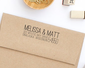 Custom Address Stamp, Return Address Stamp, Personalized Address Stamp, Wedding Stamp, Self-Inking Address Stamp, Stamp Style No. 24