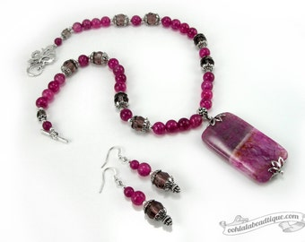 Fuchsia Pink Jewelry Set birthstone necklace earrings set pink necklace fuchsia necklace earrings pink agate jewelry holiday gift for her