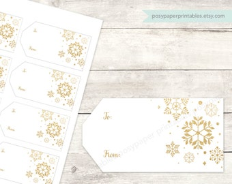 holiday gift tags printable DIY christmas gift cards favor tags favours white gold glitter snowflakes digital - INSTANT DOWNLOAD