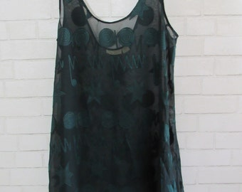 90s Victorias Secret Funky Hunter Green Sheer Top, Lounge Wear, Bathing Suit Cover, Flowing Tank