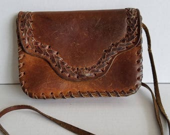 Vintage Small Braided Leather Snap Closure Shoulder Crossbody Purse