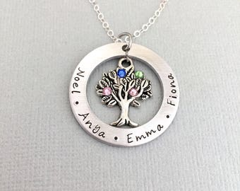 Personalised Family Name Necklace, Tree of Life Necklace, Birthstone Necklace, Mother Gift, Grandma Necklace, Gift for Grandmother, Mom Gift