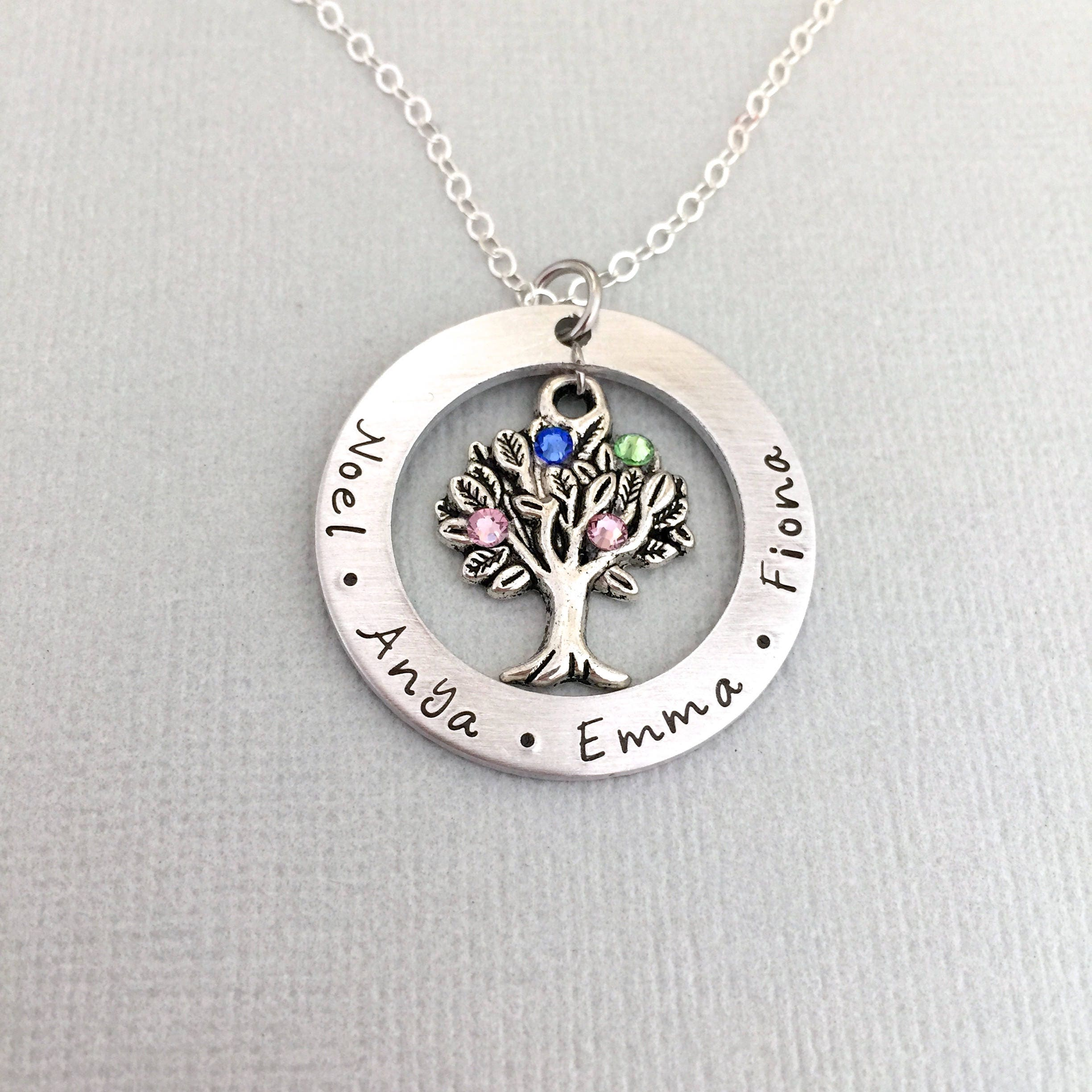 tree family pendant silver wid sterling birthstone product necklace