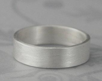 Men's Wedding Band~Modern Wedding Band~Simple Wedding Band~Simple Silver Ring~6mm Wide Band~Straight & Narrow Design~Flat Edge Band