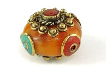 Tibetan Bead Fancy Amber Color Loose 117991