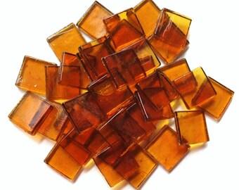"""15mm (3/5"""") Amber Gold Transparent Glass Mosaic Tiles//Mosaic Supplies//Mosaic//Crafts"""