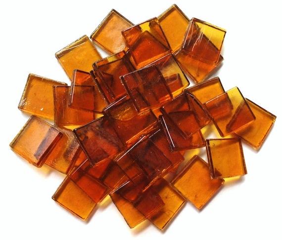 "15mm (3/5"") Amber Gold Transparent Glass Mosaic Tiles"