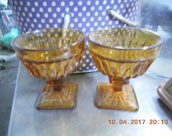 Mt Vernon Indiana Glass Amber Footed Dessert/Sherbet Goblets set of 4