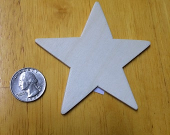 """6 pack 3.5"""" Unfinished Wooden Stars Cutouts for Wood Crafts"""