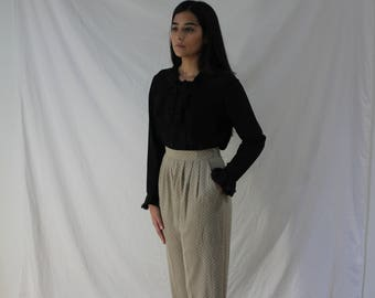 Pleated Dress Pants with Pockets in Beige-Olive - Vintage Squiggle Pattern, High Waisted Slacks