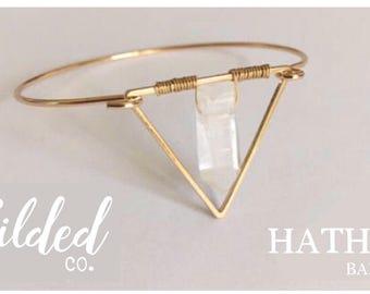 Hathor Bangle — gold bracelet triangle clear crystal quartz geometric minimalist minimal petite dainty boho gypsy healing nashville festival