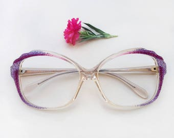 70s eyeglasses LORIS AZZARO Paris / Vintage French dead stock glittered frames / clear lucite sparkly butterfly sunglasses / purple Eyewear