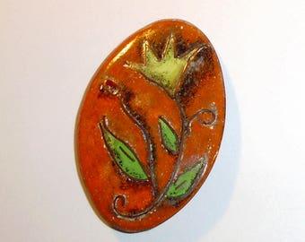 Vintage Stylized Copper Flower Wire Enamel Jewelry Brooch