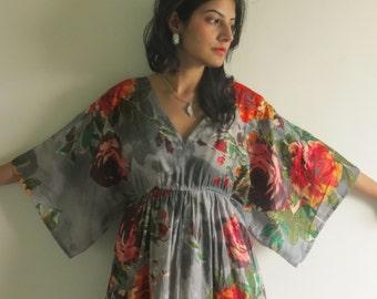 Butterfly Sleeves Empire Waist Floral Kaftan Dress Summer Dress, Long Maxi, loungewear, beachwear, Maternity Dress, Holiday Vacation Wear