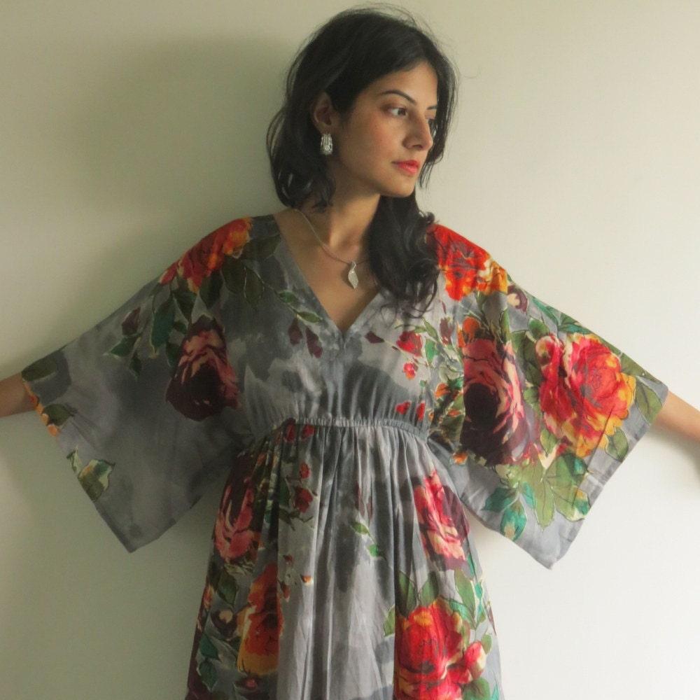 Butterfly sleeves empire waist floral kaftan dress summer zoom ombrellifo Images