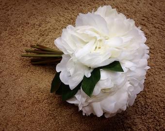 IVORY Peony Bouquet - Artificial Flower Bouquet, Artificial Flower, Wedding Bouquet, Bridesmaid Bouquet, Clutch Bouquet - ITEM 0504