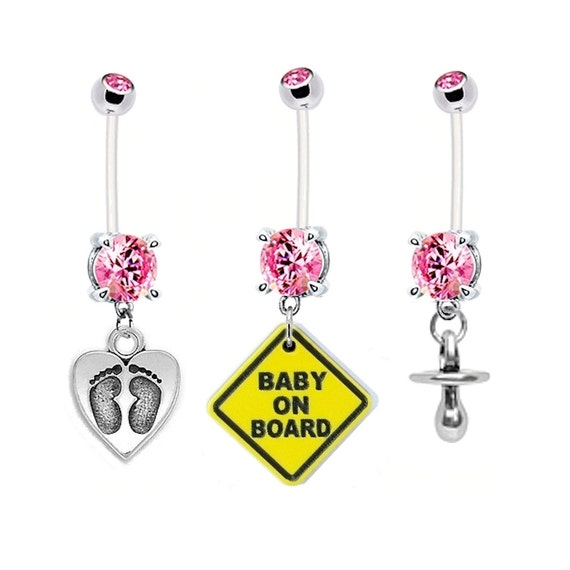 Pregnancy Belly Ring 3 Pack Baby Feet On Heart Baby On Board