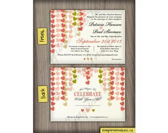 heart themed wedding invitations | hanging heart invites handmade in Canada by empireinvites.ca
