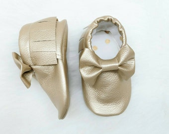 Baby Moccs, -Gold Baby Moccs, -Moccasins.