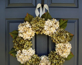 Gorgeous Green & Cream Hydrangea Wreaths | Spring Wreath | Front Door Wreath | Winter Wreath | Outdoor Wreaths | Summer Wreath