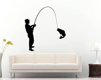 Sport Fishing Fisherman Catching Fish Water Ocean See DIY Wall Stickers Decals Vinyl Mural Decor Art L2177