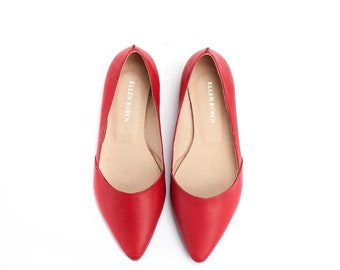 Handmade Red Leather Shoes / Women's Shoes / Flat Shoes / Pointed Toe Flat Shoes / Slip On Shoes / Summer Shoes / Evening Shoes - Barcelona