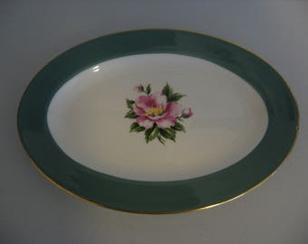 Vintage - Homer Laughlin Century Service Empire Green Oval Serving Dish 9""