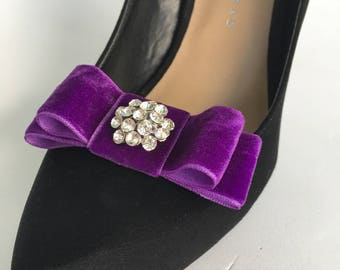 Purple Velvet  Ribbon Bow Plain or with Rhinestone Center Shoe Clips Set Of Two