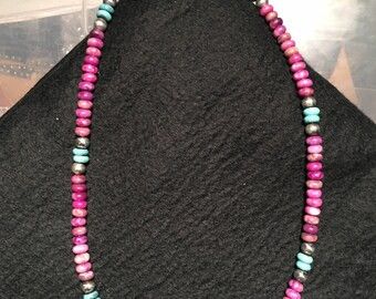 Magenta Beads with Turquoise and Sterling Accent Beads