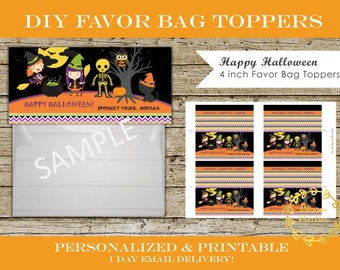 Halloween Treat Bag Toppers DIY Personalized and Printable Digital Halloween Party Favor Tags