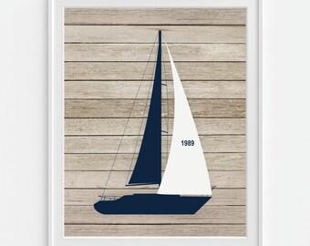 Sailboat Art Print, Sail Boat Art, Boat Art, Ship Wall Art 5x7, 8X10, 11x14 Sailboat Decor, Nautical Wall Art, Boys Nursery Art