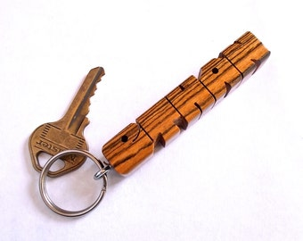 Name Keychain in Bocote Wood, Carved to Order