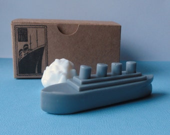 Titanic Ship and Iceburg Mini Gift Set - Goat Milk Soap - French vanilla Scented - Gift for Him - Novelty Soap - Fathers Day - Shaped Soap