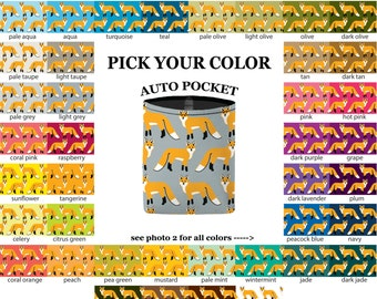 Auto Pocket - Fox - PICK YOUR COLOR - Car Accessory Automobile Caddy - Sunglasses Cell Phone Charger Bin Bag Case Holder