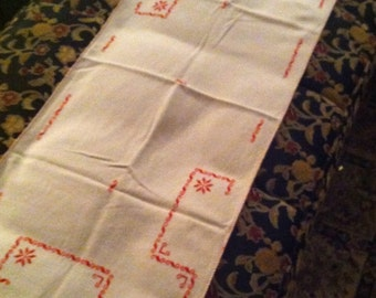 Vintage Hand Embroidered Table Runner