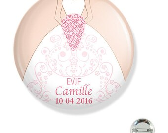 Bachelorette party customizable 38MM badge / dress