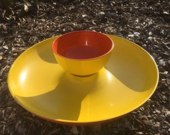 Vintage George Briard Boutique Chip and Dip Tray Yellow & Orange ~ Mid Century Modern ~ QUALITY!